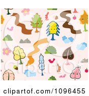 Clipart Seamless Tree And Animal Background Pattern Royalty Free Vector Illustration by Cherie Reve