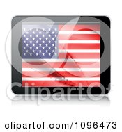 Clipart 3d Tablet Computer With An American Flag On The Screen Royalty Free Vector Illustration