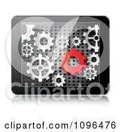 Clipart 3d Tablet Computer With Red And Silver Gears On The Screen Royalty Free Vector Illustration