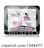 Clipart 3d Tablet Computer With A Couple And Me And You Text On The Screen Royalty Free Vector Illustration