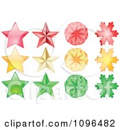 Clipart Red Yellow And Green Stars And Snowflakes Royalty Free Vector Illustration by Andrei Marincas
