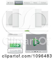 Clipart Professional Green And Gray Website Design Tabs Login And Media Player Royalty Free Vector Illustration