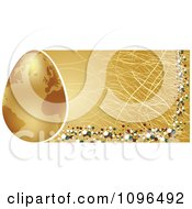 Clipart 3d Golden Globe Easter Egg And Scratched Website Banner Royalty Free Vector Illustration