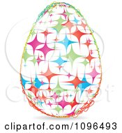 Clipart Colorful Sparkle Easter Egg With A Scribble Frame Royalty Free Vector Illustration by Andrei Marincas