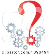 Clipart Red Question Mark And Gear Cogs Royalty Free Vector Illustration