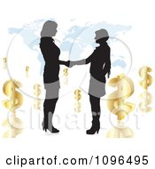 Clipart Two Silhouetted Business Women Shaking Hands Over A Map With Dollar Symbols Royalty Free Vector Illustration
