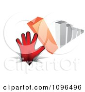 Clipart 3d Bar Graph Tipping Over Onto A Hand And Pounding It In The Ground Royalty Free Vector Illustration by Andrei Marincas