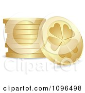 3d Golden St Patricks Day Lucky Clover Coins