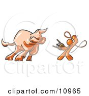 Orange Man Holding A Stool And Whip While Taming A Bull Bull Market Clipart Illustration