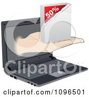 Clipart Hand Holding Out A Fifty Percent Sales Box From A Laptop Screen Royalty Free Vector Illustration by Andrei Marincas