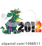 Clipart Green Fire Breathing Dragon Wearing A Coat And Standing By A Flaming Year 2012 Royalty Free Vector Illustration