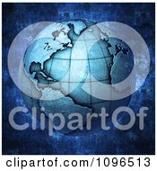 Clipart 3d Blue Metallic Globe Featuring The Atlantic Royalty Free CGI Illustration
