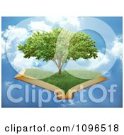 Clipart 3d Tree Of Knowledge Floating On An Open Book In The Sky Royalty Free CGI Illustration by Mopic
