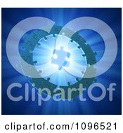 Clipart 3d Ring Of Connected Puzzle Pieces Around A Shining Solution Piece Royalty Free CGI Illustration by Mopic