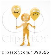 Clipart 3d Orange Man Holding Happy And Sad Balloons Royalty Free CGI Illustration
