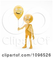 Clipart 3d Sad Orange Man Holding A Happy Balloo Royalty Free CGI Illustration