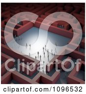 Clipart 3d Tiny Business People In A Red Maze Royalty Free CGI Illustration