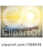 Clipart 3d Lone Ice Floe Floating On The Ocean Against An Orange Sunset On The Horizon Royalty Free CGI Illustration