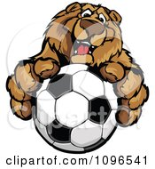 Friendly Bear Mascot Holding Out A Soccer Ball