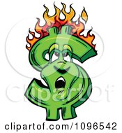 Clipart Burning Dollar Symbol Looking Up At The Flames Royalty Free Vector Illustration