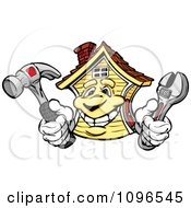 Clipart House Mascot Holding Repair Tools Royalty Free Vector Illustration