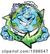 Clipart Happy Earth Holding Recycle Arrows Royalty Free Vector Illustration