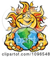 Happy Sun Mascot Holding Out Earth