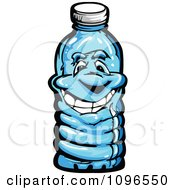 Clipart Happy Plastic Water Bottle Royalty Free Vector Illustration by Chromaco