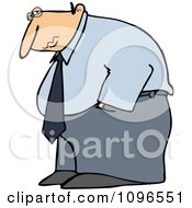 Clipart Depressed Businessman Hanging His Head Low Royalty Free Vector Illustration