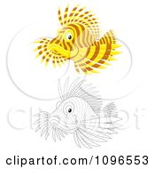 Clipart Brown And Yellow And Black And White Lion Fish Royalty Free Illustration by Alex Bannykh