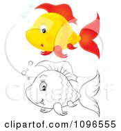 Clipart Happy Orange And Red And Black And White Fish Royalty Free Illustration