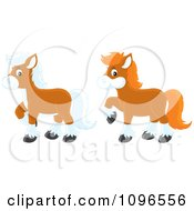 Clipart Brown Ponies Royalty Free Vector Illustration