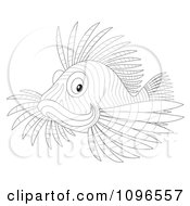 Clipart Outlined Lion Fish Royalty Free Illustration by Alex Bannykh