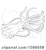 Clipart Black And White Squid Royalty Free Illustration by Alex Bannykh