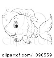 Clipart Happy Black And White Fish Royalty Free Illustration by Alex Bannykh