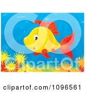 Clipart Happy Orange And Red Fish Over A Coral Reef Royalty Free Illustration