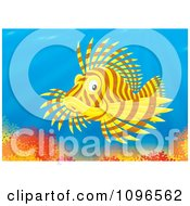 Clipart Brown And Yellow Lion Fish Over A Coral Reef Royalty Free Illustration by Alex Bannykh