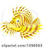 Clipart Yellow And Brown Lion Fish Royalty Free Vector Illustration by Alex Bannykh
