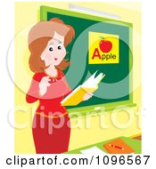 Clipart Friendly Female Teacher Discussing The Alphabet In Class Royalty Free Vector Illustration by Alex Bannykh