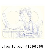 Clipart Blue Sketched Businessman Sitting At A Desktop Computer Royalty Free Illustration by Alex Bannykh