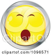 Clipart Bored Yawning Yellow And Chrome Cartoon Smiley Emoticon Face Royalty Free Vector Illustration