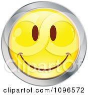 Clipart Yellow And Chrome Cartoon Smiley Emoticon Happy Face 15 Royalty Free Vector Illustration