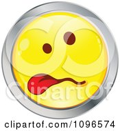 Clipart Sick Yellow And Chrome Cartoon Smiley Emoticon Face Hanging Its Tongue Out 2 Royalty Free Vector Illustration