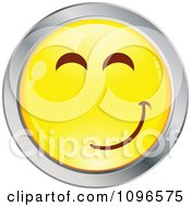 Clipart Yellow And Chrome Cartoon Smiley Emoticon Happy Face 16 Royalty Free Vector Illustration