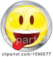 Clipart Yellow And Chrome Goofy Cartoon Smiley Emoticon Face 8 Royalty Free Vector Illustration