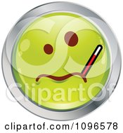 Clipart Sick Green And Chrome Cartoon Smiley Emoticon Face With A Thermometer Royalty Free Vector Illustration
