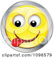 Clipart Yellow And Chrome Goofy Cartoon Smiley Emoticon Face 9 Royalty Free Vector Illustration