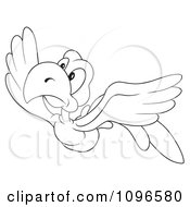 Clipart Outlined Parrot Flying Royalty Free Vector Illustration by dero