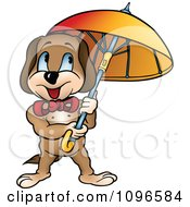 Clipart Happy Dog Standing Under An Umbrella Royalty Free Vector Illustration by dero
