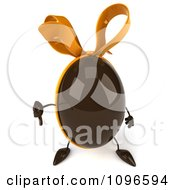 Clipart 3d Chocolate Egg With A Bow Giving A Thumb Down Royalty Free CGI Illustration